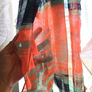 Cute neon, exotic print, tassel infinity scarf